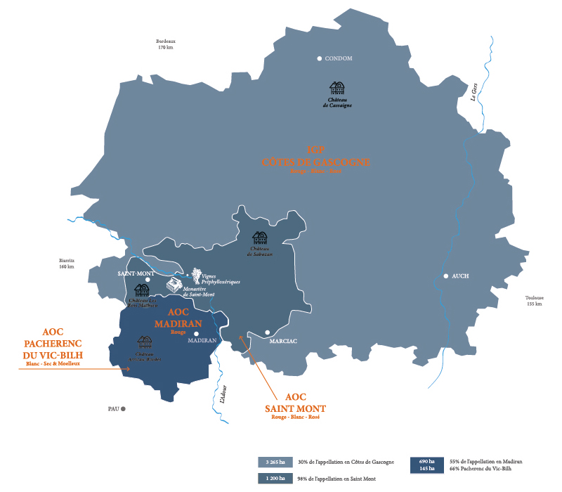 Carte des Appellations de Plaimont