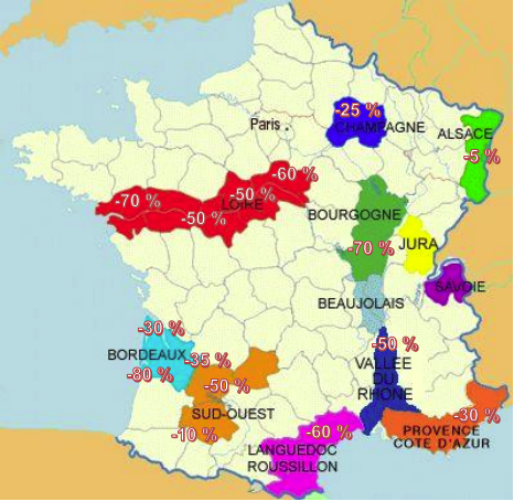 Carte dégâts vignes Gel 2021