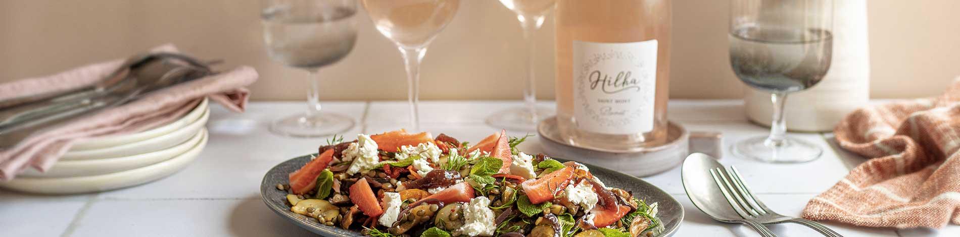 Accords mets et vin rosé et salade